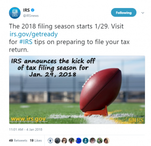 IRS Official First Day to File 2018